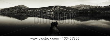 Dock On Lake New Zealand Nature Concept
