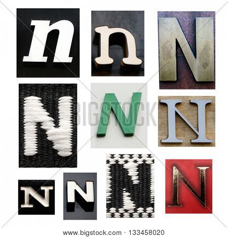 Collection alphabet. Letter N