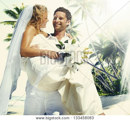 Marriage Couple Beach Wedding Happiness Concept