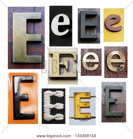 Collection alphabet. Letter E