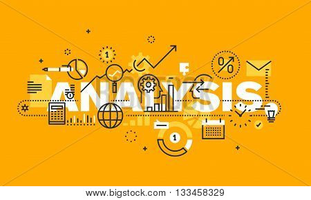Thin line flat design banner for ANALYSIS web page, financial analysis, accounting, products and services development, business control. Modern vector illustration concept of word ANALYSIS for website and mobile website banners.
