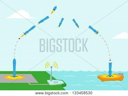 Different Stages diagram of a Reusable Rocket concept. Editable Clip Art.
