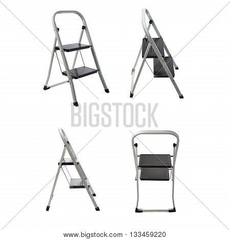 Set of Two steps metal ladder over isolated white background