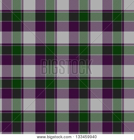 Traditional trendy Scottish green tartan pattern with violet stripes made seamless for kilt or bandana