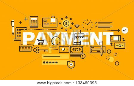 Thin line flat design banner for PAYMENT web page, banking, internet payment security, mobile banking, payment options. Modern vector illustration concept of word PAYMENT for website and mobile website banners.