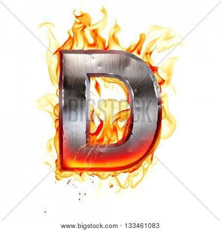 Metal letter on fire. 3D illustration.