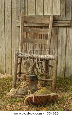 Antique Chair And Work Boots