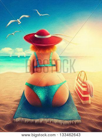 Cute plump woman sitting on the beach