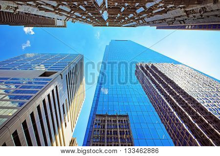Bottom Up View On Skyscrapers Mirrored In Glass In Philadelphia