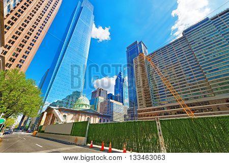 Construction Works Near Arch Street Presbyterian Church In Philadelphia Pa