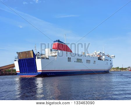 Cruise Liner On The Venta River In Ventspils Of Latvia