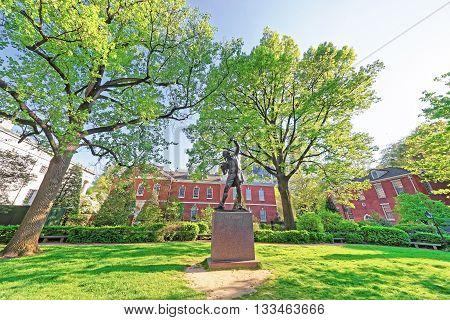 The Signer Statue In Signers Park In Philadelphia In Pa