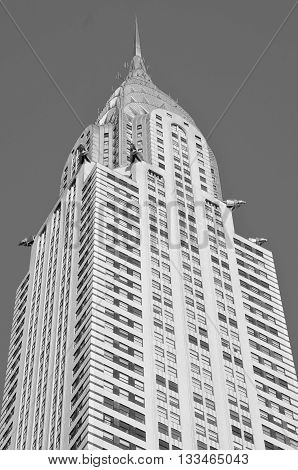 NEW YORK USA OCTOBER 27: Chrysler building facade on October 27, 2013 in New York, was the world's tallest building before it was surpassed by the Empire State Building in 1931.