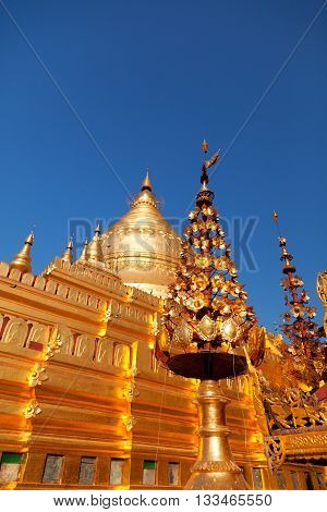 Golden Shwezigon Pagoda one of the biggest religious places in Bagan Myanmar