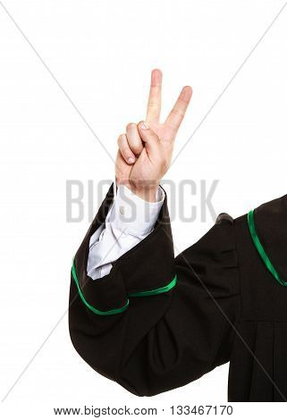 Lawyer Arm In Air Show Victory Sign.