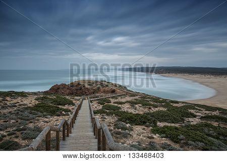 landscape picture of a beautiful european beach Sagres.
