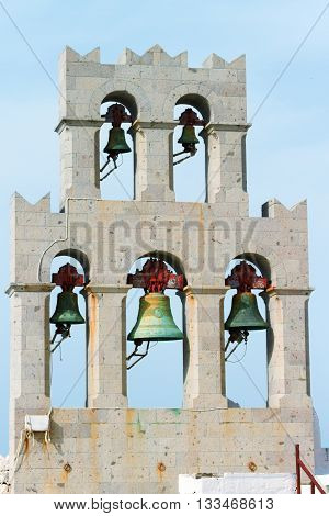 Church and bells on Patmos island Greece. Close up on bells