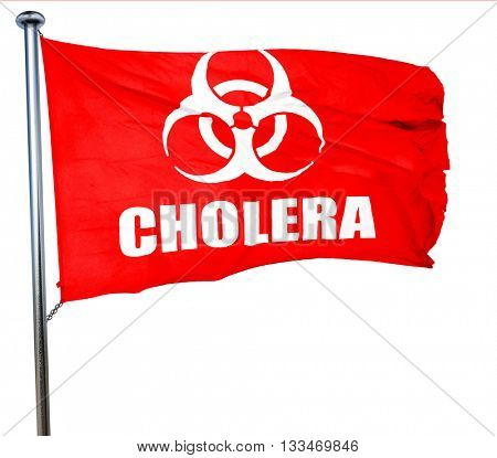 Cholera concept background, 3D rendering, a red waving flag