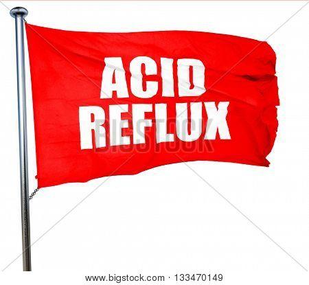 acid reflux, 3D rendering, a red waving flag