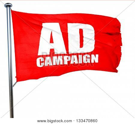 Ad campaing, 3D rendering, a red waving flag