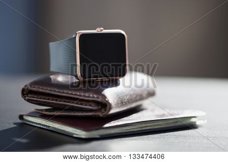 Smart Watch, Money, Documents On The Table
