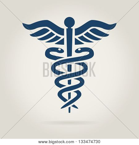 caduceus medical symbol in dark blue color