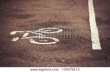 Separate bicycle lane on asphalt in the park. White bike symbol and straight line drawn on the ground to show the direction of cyclists. No models