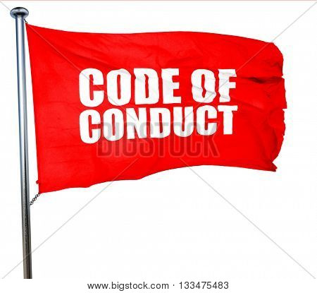 code of conduct, 3D rendering, a red waving flag