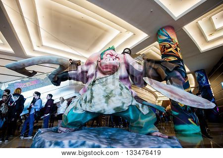MOSCOW, RUSSIA - MAY 13 2016: EPICENTER MOSCOW Dota 2 cybersport event. Big Pudge hero statue