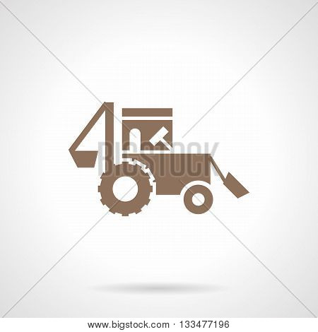 Monochrome silhouette of tractor. Agricultural and industrial vehicles. Farming machinery. Symbolic brown glyph style vector icon.