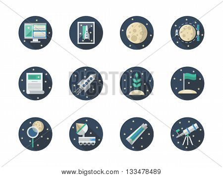 Space research concept. Discovery travel, cosmos exploration. Expedition to Moon or Mars. Round flat color vector icons set. Web design elements for business, site, mobile app.