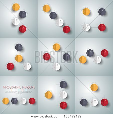 Vector circle arrows infographics set. Template for diagram graph presentation and chart. Business concept options parts steps of processes. Abstract background.