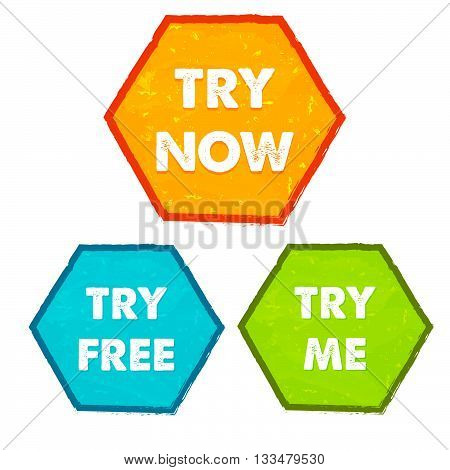 try now, try free, try me - text in orange, blue, green grunge flat design hexagons banners, business technology present concept labels, vector