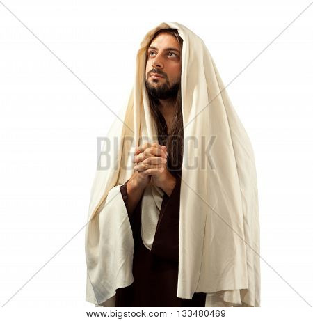 Jesus Christ Prays With Clasped Hands