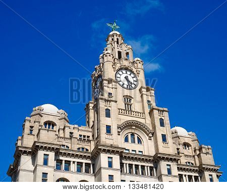 Liver building in Liverpool,UK against a blue sky