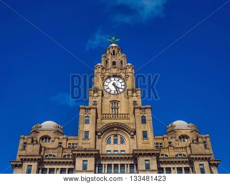Liver building in Liverpool,UK, against a blue sky