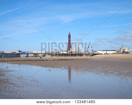 Blackpool tower and Central Pier with pool reflection
