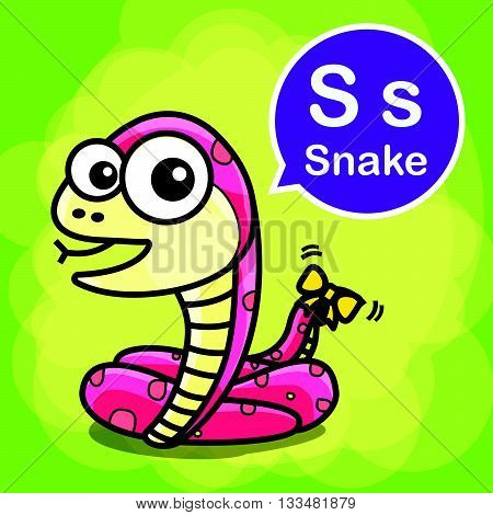 S Snake animal cartoon and alphabet for children to learning vector illustration eps10