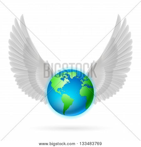 Terrestrial globe with two raised white wings on white background.