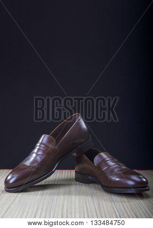 Mens Brown Penny Loafer Shoes Against Black Background. Vertical Image Composition