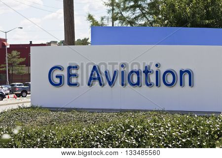 Cincinnati - Circa June 2016: Logos From the General Electric Aviation Facility. GE Aviation is a Provider of Jet Engines V