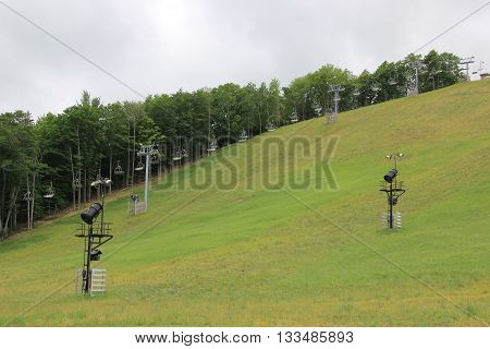 Ski sloops in winter in the state of Michigan