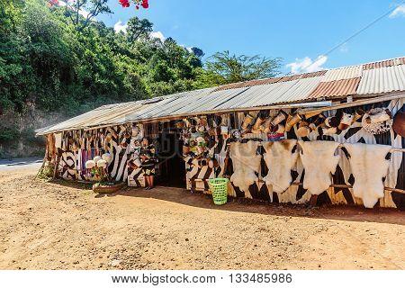 Kenya, Africa - March 6, 2016: Souvenir shop in Masai Mara Game Park resort in Kenya, Africa