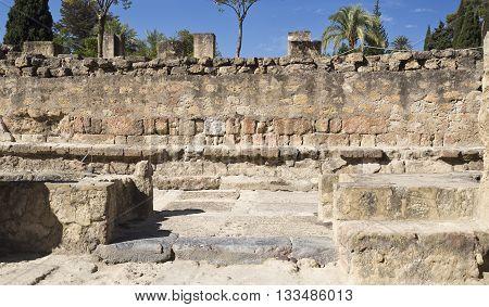 MEDINA AZAHARA, SPAIN - September  11, 2015: Ruins of the ramped street connecting the Great Portico to the Upper Terrace of Medina Azahara near Cordoba on September  11, 2015 in Medina Azahara, Spain