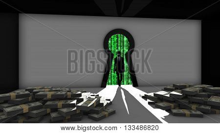 Elite hacker entering a room through a keyhole to steal money silhouette 3d illustration information security backdoor concept with blue digital background matrix