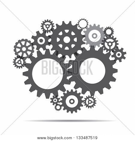 Grey Sprockets and Background for presentation. Vector Illustration.