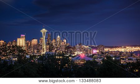 Space Needle and skyline at dusk in Seattle Washington USA