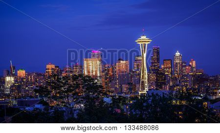 Space Needle and skyline at dusk in Seattle Washington USA in Seattle Washington USA