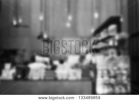 Blurred background in coffee shop with black and white tone, stock photo