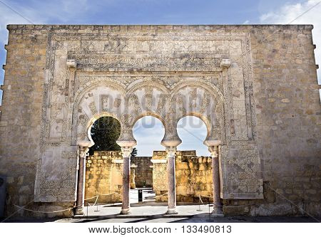 MEDINA AZAHARA, SPAIN - September  11, 2015: Facade of the House of Yafar at Medina Azahara medieval palace-city near Cordoba on September  11, 2015 in Medina Azahara, Spain